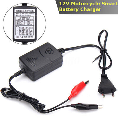 DC 12V 1.2A CHARGEUR DE BATTERIE INTELIGEANT AUTO VOITURE MOTO SCOOTER 50/60Hz