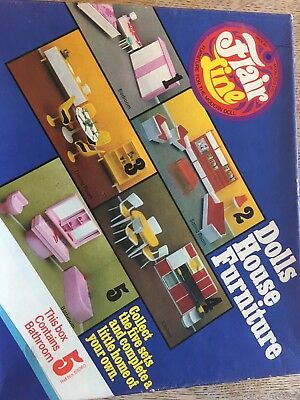 Flair line Retro Dolls House Furniture Kitchen Lounge And Bathroom