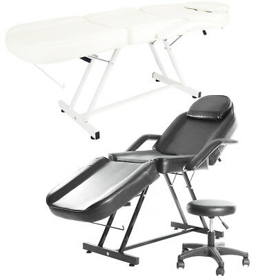 Beauty Salon Chair Massage Table Body Treatment Tattoo Therapy Couch Bed + Stool