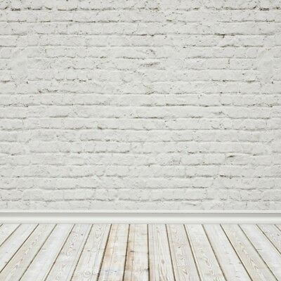 Pure White Brick Wall 8x8FT Background Photography Vinyl Props Studio Backdrops