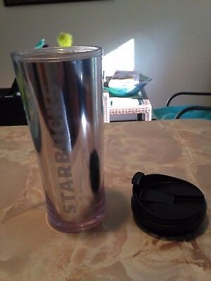 STARBUCKS 16 OZ INSULATED PLASTIC TRAVEL TUMBLER CUP Silver with White LOGO MUG
