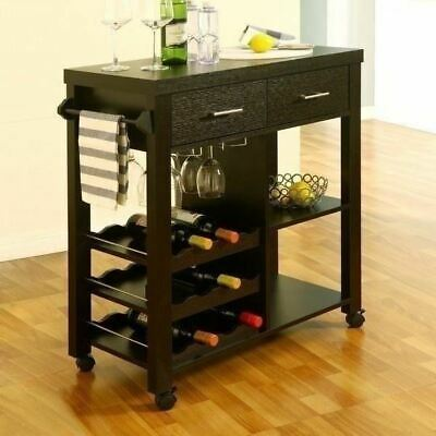 Merveilleux Dk Brown Wood Kitchen Utility Bar Cart Liquor Rolling Serving Storage Wine  Rack