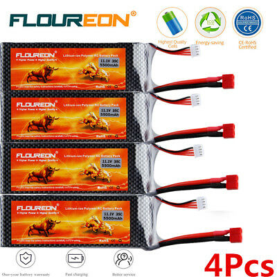 4x3S 35C 11.1V 5500mAh Lipo Battery Deans for RC Helicopter Airplane Car Vehicle