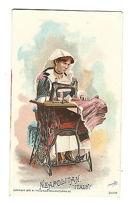 1892 Singer Manufacturing Co Sewing Machine Trade Card ITALY Neapolitan Naples
