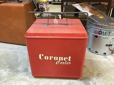 VINTAGE Coronet metal Ice Chest Cooler  Hamilton Skotch Ohio Coke Red