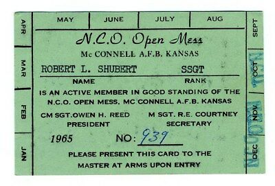 An N.C.O. Open Mess Membership Card McConnell Air Force Base AFB Kansas 1965