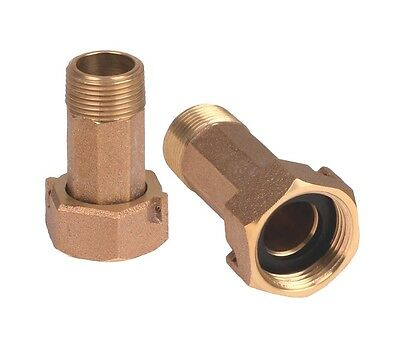 "3/4"" Brass Water Meter coupling Set of 2 for 5/8 x 3/4, LEAD FREE"