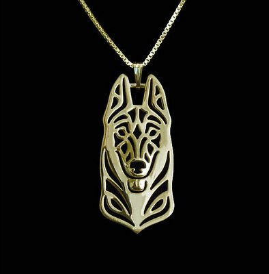 Belgian Malinois Dog Pendant Necklace Gold Tone ANIMAL RESCUE DONATION