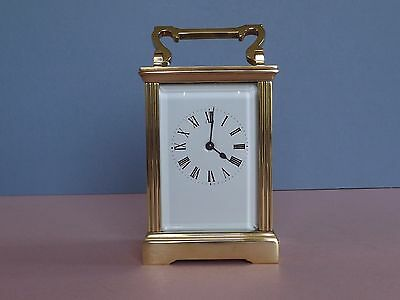 Beautiful Antique French Brass 8 Day Carriage Clock (L1-2)