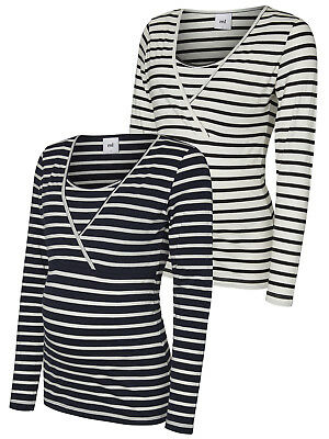 2 pack Mamalicious Nursing Tops Breastfeeding Long Sleeve Navy Breton Stripe