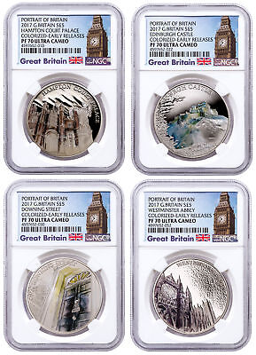 2017 Great Britain Portrait Silver £5 4-Coin Set NGC PF70 UC ER Big Ben SKU49442