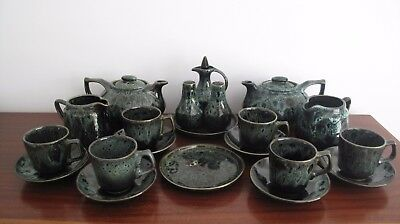 Collection of Foster's Studio Pottery 60s Vintage Funky Retro Teapot Jug Cups