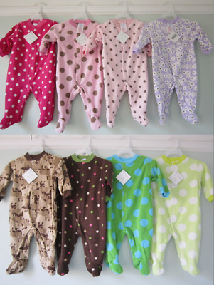 Baby Girls / Boys Fleece Sleepsuit Babygro  (Ages New Born, 0-3, 3-6 & 6-9 Month