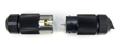 Hubbell 3 PRONG 250V 50A 3-PHASE TWIST LOCK MALE & FEMALE PLUG PAIR