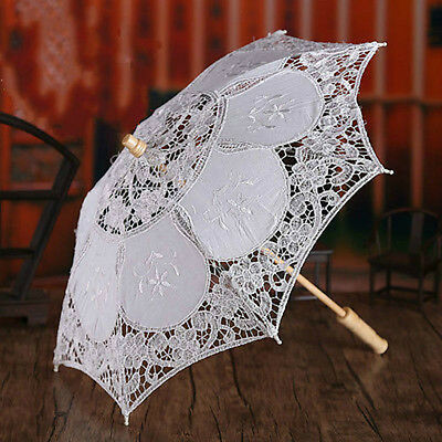 White Lace Embroidered Parasol Umbrella Decor Bridal Wedding Party Decoration