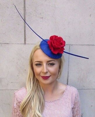 Royal Blue Red Rose Quill Feather Fascinator Pillbox Races Hat Headpiece 4011