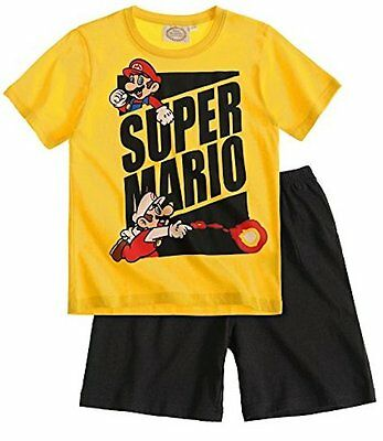 Super Mario Bros Boys T-Shirt with Short Sleeve Pyjama - Yellow/ Grey/ Red