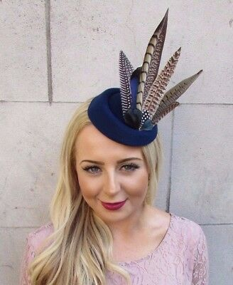 Navy Blue Brown Pheasant Feather Pillbox Hat Hair Fascinator Races Clip Vtg 4016