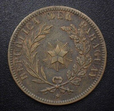 Paraguay 1870 4 Centesimos Nearly Uncirculated  Km#4.1