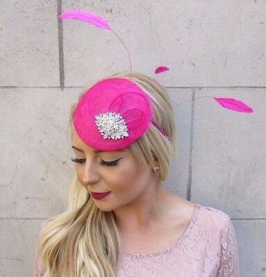 Hot Pink Silver Feather Fascinator Pillbox Hat Races Wedding Hair Headpiece 4019