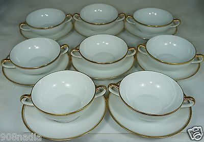 Vintage White & Gold Porcelain Handled Soup Cup/ Plate Set 16Pc,serves 8,bohemia