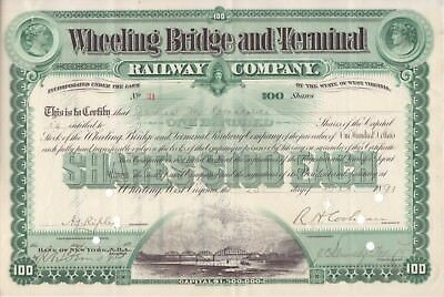 1891 Wheeling Bridge and Terminal Railway Co stock certificate