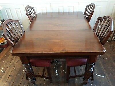 4/6 Seater Mahogany Vineer Victorian Dining Room Table & 4 Repro Chairs NR!