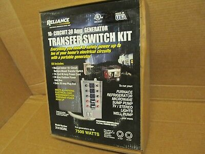 NEW Reliance Controls Corp. 31410CRK 30A 10-circuit 75W Transfer Switch Kit