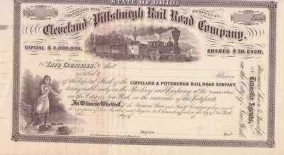 1800's Cleveland and Pittsburgh Railroad Co stock certificate