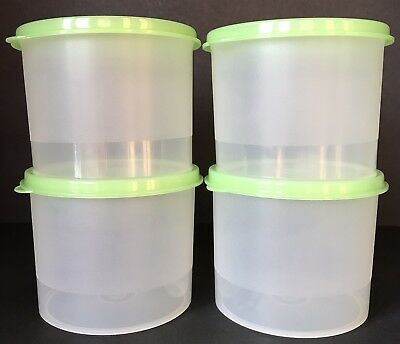 Tupperware Canisters Set of 4 Containers Green Seals New