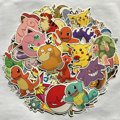 80pc Stickers POKEMON GO Pikachu Cartoon Skateboard Laptop Sticker Luggage Decal