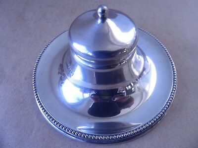 Excellent Edwardian Sterling Silver Beaded Inkwell 1907