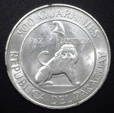 Paraguay 1968 Silver 300 Guaranies  Km#29  Near Gem Ucirculated