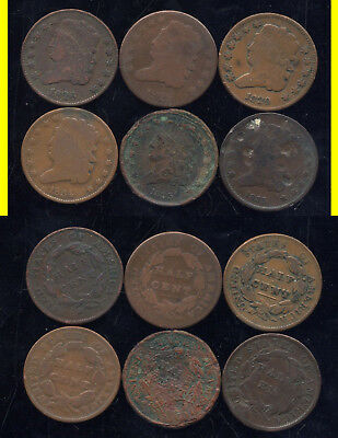 Lot Of 6 Classic Head Half Cents- Scarce- No Reserve