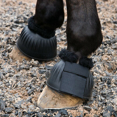 FINAL CLEARANCE Fleece Trim Rubber Over Reach Bell Boots MEDIUM Size