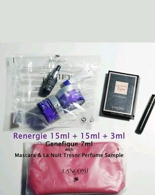 Lancome Renergie Multi-Lift Cream Genefique Mascara Perfume Pouch Sample box set