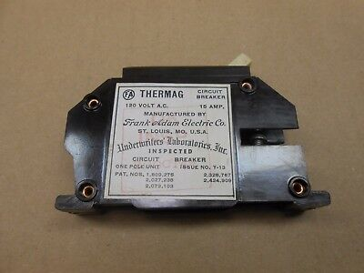 1 Frank Adam Electric Company Thermag Circuit Breaker 15A 15 Amp 1P 1 Pole 120V
