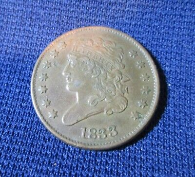 1833 Classic Head Half Cent United States Copper Coin
