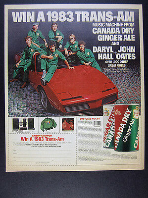 1983 Hall & Oates Pontiac Trans-Am Convertible photo Canada Dry vintage print Ad