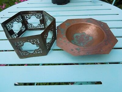 Brass Mystery Stand? Church? Quatrefoil Decoration + Hammered Copper Dish