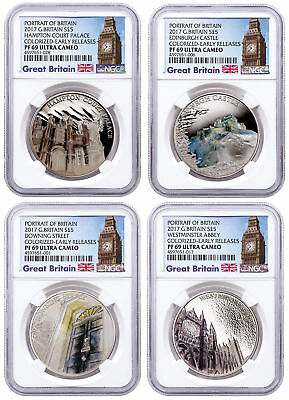 2017 Great Britain Portrait Silver Colorized 4-Coin Set NGC PF69 UC ER SKU49443
