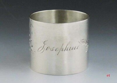 Antique c1875 American Sterling Silver Engraved 'Josephine' Napkin Ring
