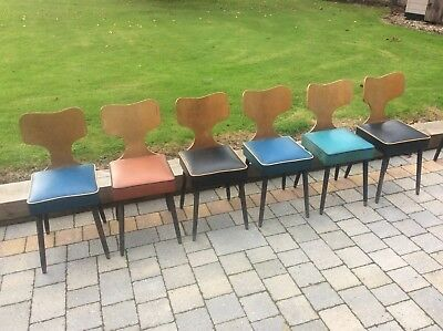 Set 6 Vintage Mid Century Modern Bent Wood Ply Plywood Chairs by Harold Fieldman