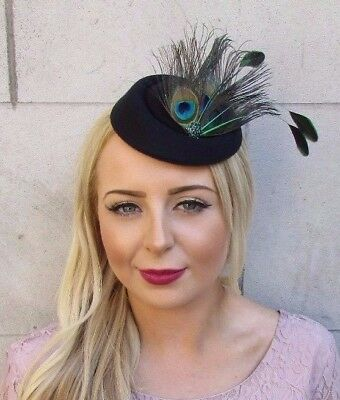 Black Green Peacock Feather Pillbox Hat Hair Fascinator Races Clip Vtg 40s 4033