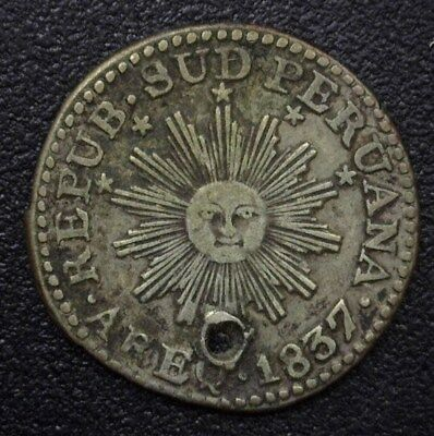 South Peru 1837-Areq 1/2 Real Nearly Xf  Km#168,c3 171 - Holed- Very Rare!
