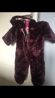 TED BAKER GIRLS TEDDY SNOWSUIT PURPLE FUR 3-6mths BEAUTIFUL