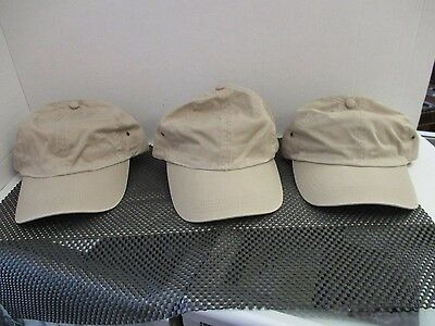 Lot Of 3 New-Khaki Caps/hats-6 Panel-Unstructured- Metal Eyelets & Buckle-[A141]