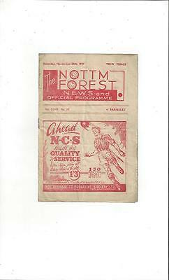 Nottingham Forest v Barnsley 1947/48 Football Programme