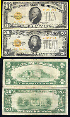1928 $10.00 And $20.00 Gold Certificates- Scarce- No Reserve