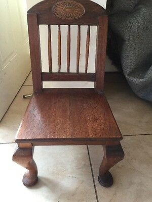 Fantastic Queen Anne OakVINTAGE OLD SMALL KIDS  ,DOLL, ,BEAR  Solid Wooden CHAIR